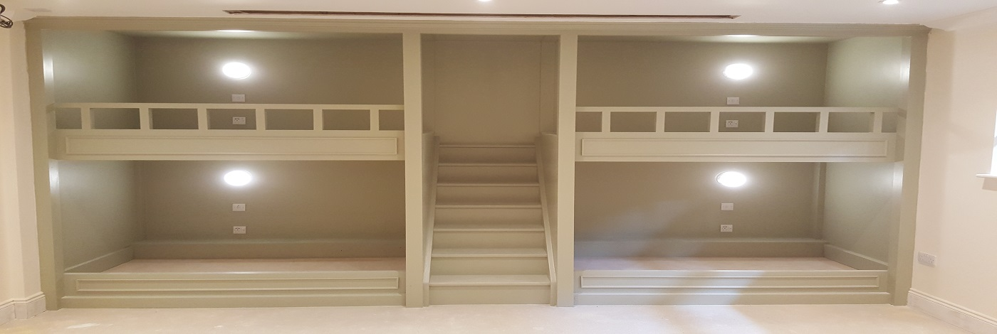 Includes Central Staircase, Drink shelves, vertical Saftey Rail, Paneling & 4 Poster Style Decorative Trim